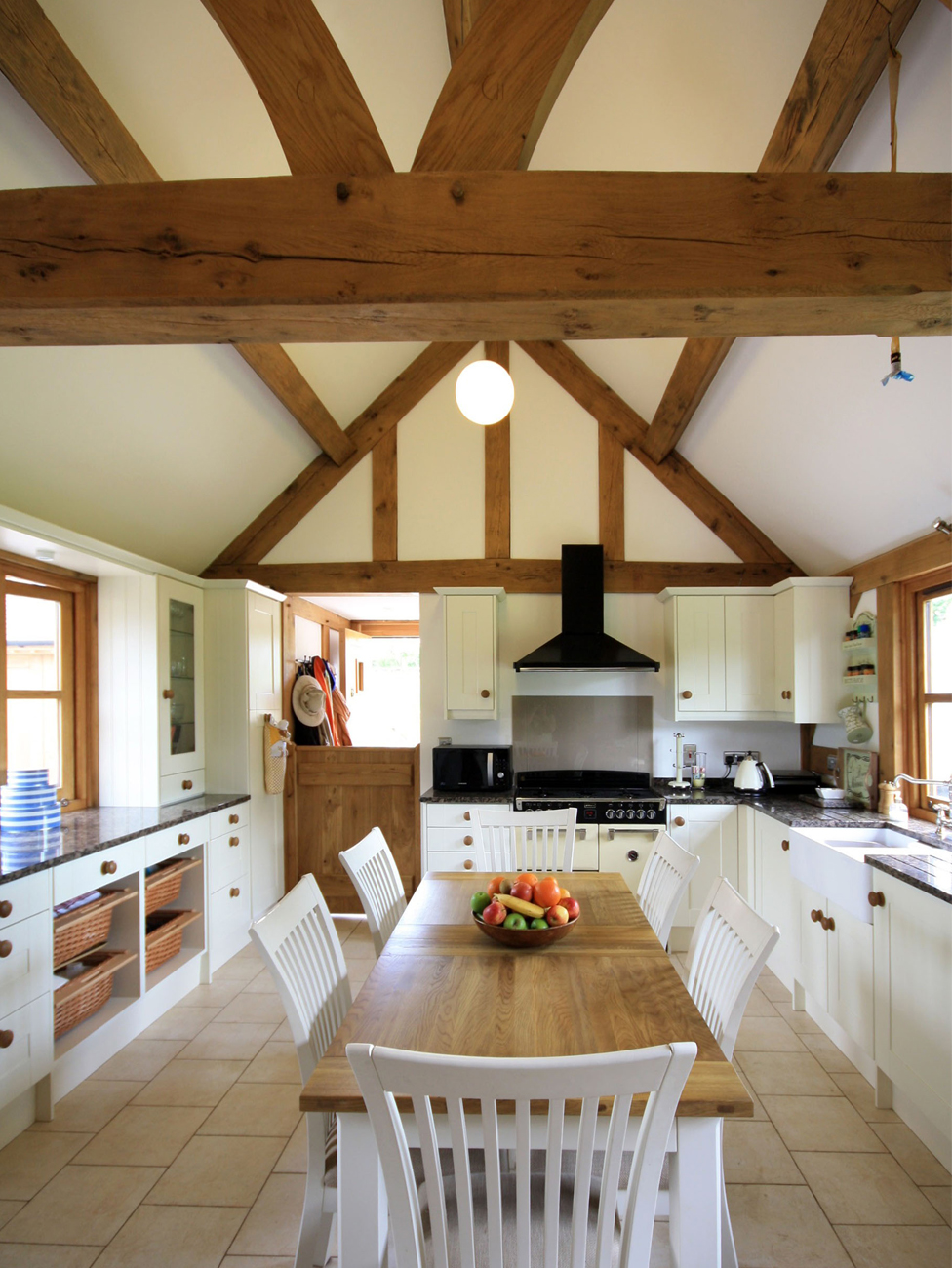 The oak structure in this new build cottage is revealed in the impressive kitchen-diner.