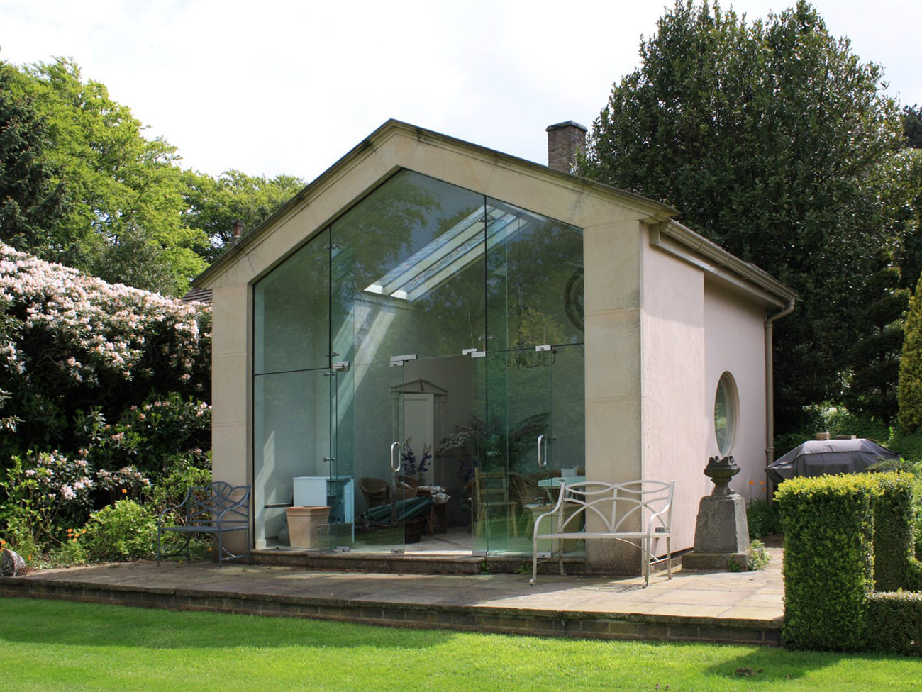 Contemporary garden room near listed building
