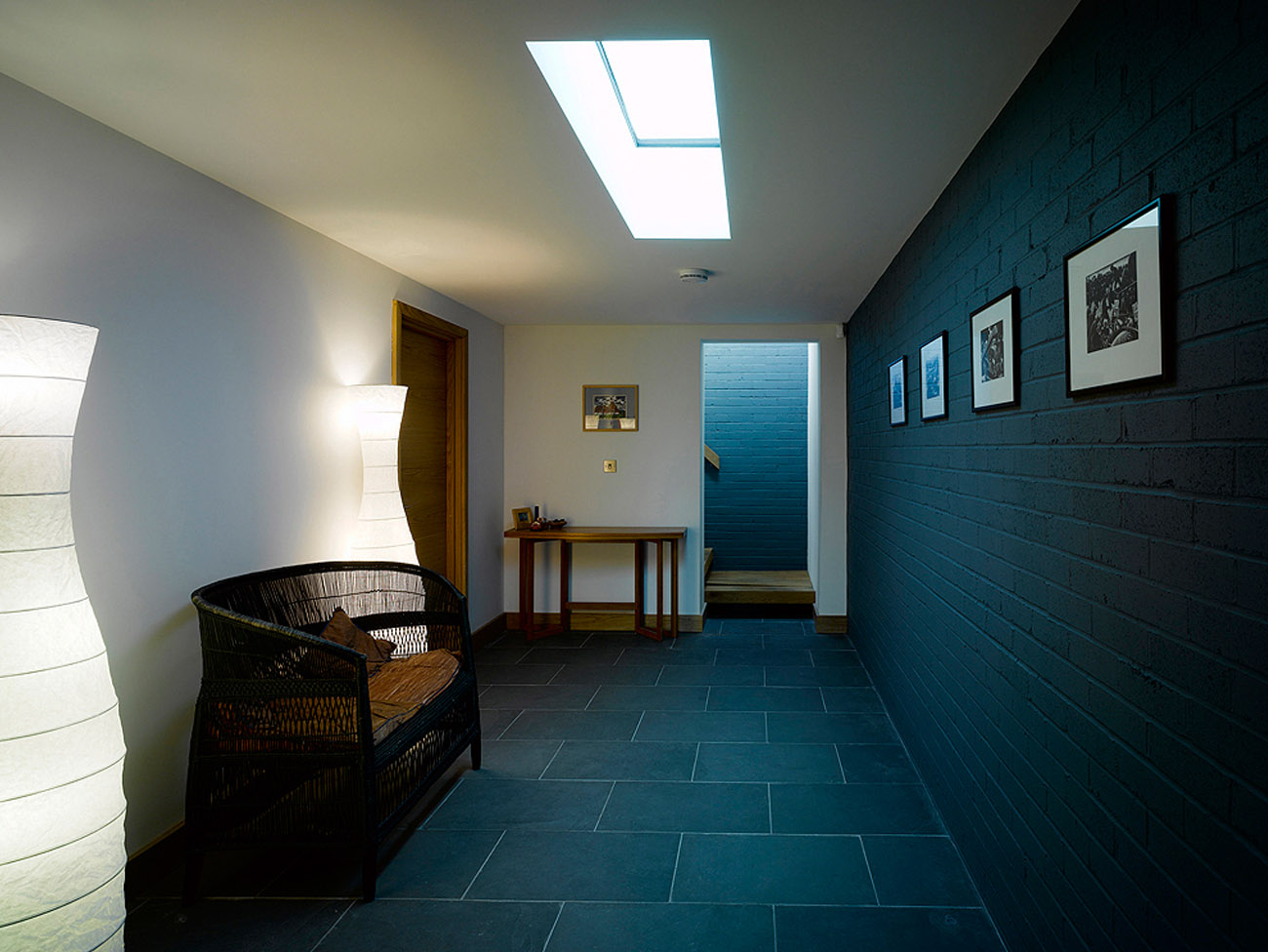 Rooflights bring natural light into a subterranean space.