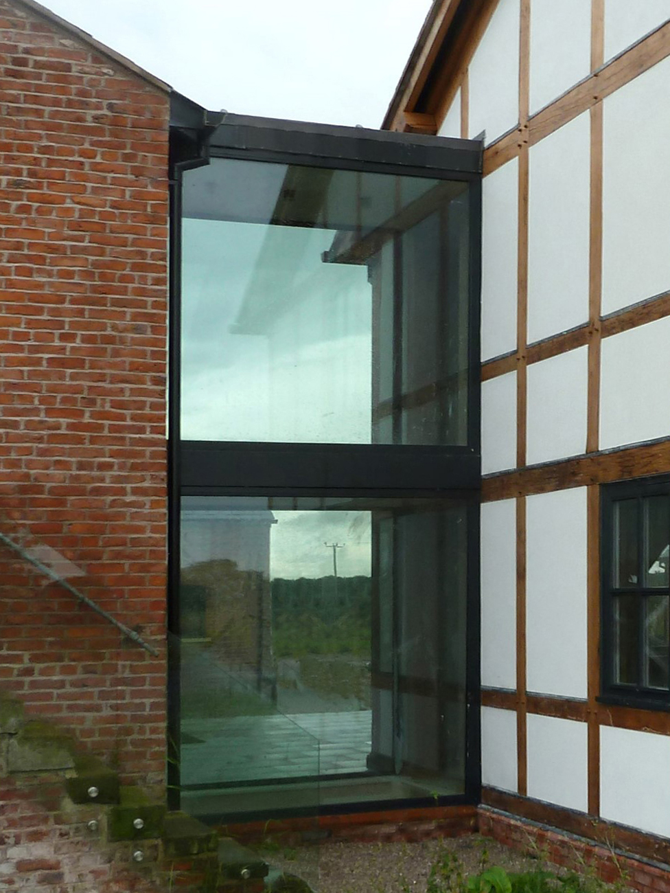 Glazing can be used to link into existing brick or stone buildings